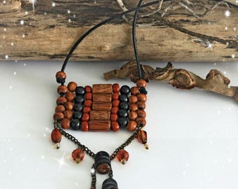 Necklace Indila - wooden beads and faceted beads