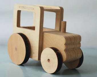 Handemade Wood Tractor Toy Hand crafted without nails, screws and paint
