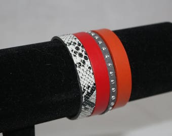 Magnetic red and orange Cuff Bracelet for women