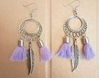 Earrings silver feathers and tassels