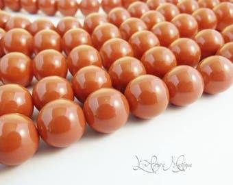 5 round glass beads 14 mm orange