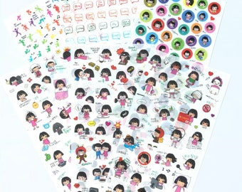 Daily Life Exercise Girl Sticker 6 in 1 Set