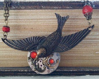 Steampunk with a large bird pendant necklace