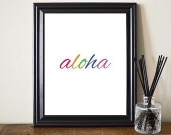 Aloha Print. Aloha Printable. Aloha Art. Aloha Poster. Aloha Typography. Aloha Spirit. Hi Print. Hello Print. Goodbye Print. Goodbye Art