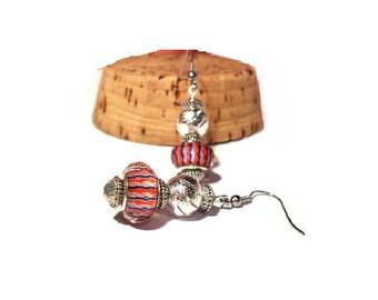Retro earrings, blue red stripes offbeat effect pearls