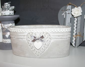 planter, gray and white lace and shabby heart