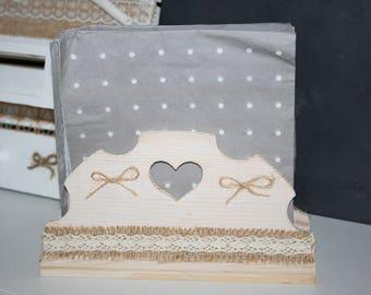towels display or box aged wood burlap