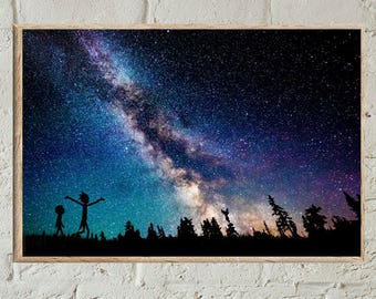 Rick And Morty Poster,Rick And Morty In Space Poster,Rick And Morty In Space Wall Art,Rick And Morty In Space Print