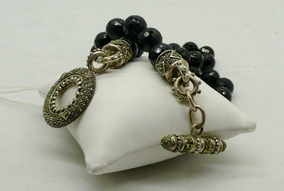 Vintage Faceted Black Onyx Necklace with Large Sterling Marcasite Toggle Clasp