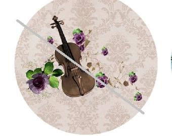 cabochon 25mm, violin, music and roses