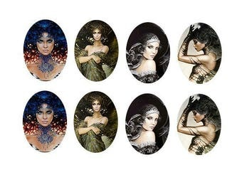 18x25mm cabochons women fairy 4 pairs