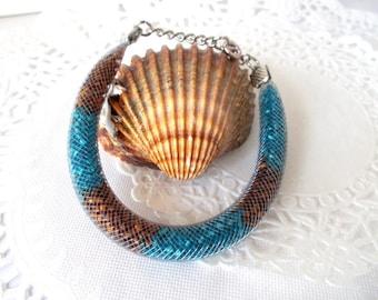 handmade bracelet, unique bracelet, bracelet grey NET and seed beads turquoise/brown rust