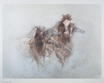 "PHANTOMS, watercolor paper print of original artwork by Lynda ""Lyndi"" Leech, 18""x24"", fundraiser for the Pueblo Art Guild"