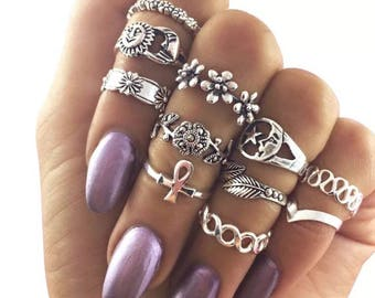 Brand new 11 pcs/set Punk Midi Rings Set Silver Color Rose Moon Knuckle Ring Finger Ring accessories Jewelry