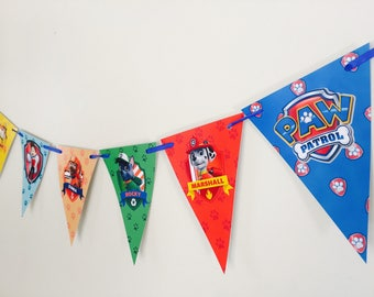 Paw Patrol Party Birthday Bunting Banner Flags. Supplies Lolly Loot Bag Cake Invitation Room Decoration