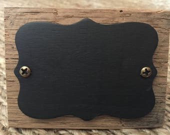 Reclaimed Wood Chalkboard Table Placecards - Set of 6