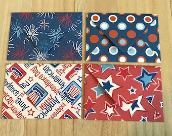 Fourth of July lined envelopes with notecards