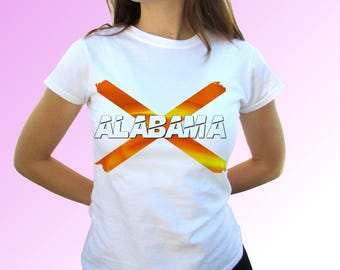 Alabama white t shirt top short sleeves Alabama flag - Mens, Womens, Kids, Baby - All Sizes!