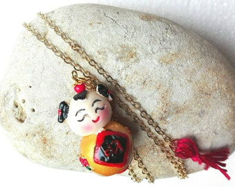 Necklace mid-length Chinese boy pendant