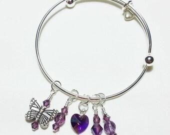 Sweetly Charmed February Amethyst Bangle Bracelet