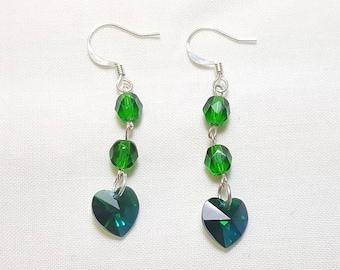 May Emerald Green Crystal Heart Earrings