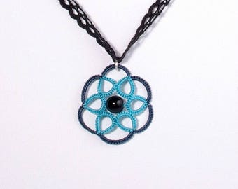 Lace rosette blue and turquoise pendant necklace