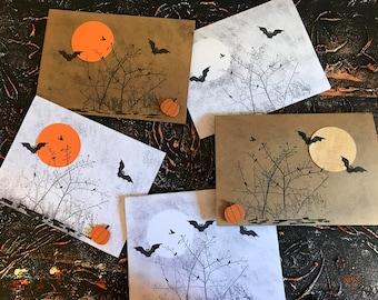 Halloween, Handmade Cards, Black & White, Brown, Orange, Bats, Simple, Trick or Treat