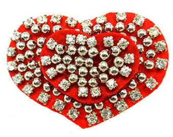 Red felt heart brooch white rhinestones and silver beads