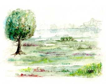 "Unique artwork signed, watercolor painting - ""Charming countryside""."