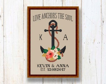 Wedding Cross Stitch Pattern, Floral Anchor Wedding, Personalized Wedding Gift xStitch, Modern Gift For Couples, Modern Home Decor #v003
