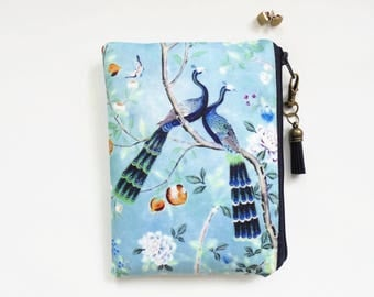 Mum gifts, Chinoiserie, sewing pouch, zipper wallet, cometic bag, zipper wallet, small storage bag.