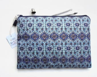 Gifts for her, Wash bag, turkish tile print, travel bag, cosmetic bag, zip bag, make up bag, large makeup bag.