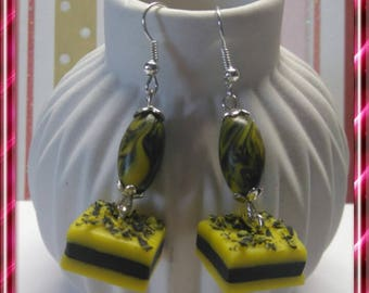 Gourmet licorice yellow polymer clay earrings