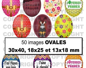 50 digital images for theme egg Bunny multocolores - oval cabochon