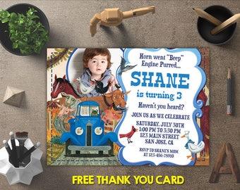 Little Blue Truck Invitations, Little Blue Truck Birthday Invitation, Little Blue Truck Party Printables, FREE 4x6 Thank You Card