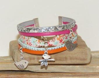 "Cuff Bracelet ""my little"" birdies ""leather, with glitter and studded Suede, pastel blue color"