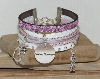 """Cuff - gift for nanny """"super nanny"""" leather and glitter, white, pink color soft and silver"""