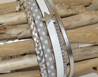 "Cuff Bracelet, MULTISTRAND, light gray, white, silver, leather, suede, bias spaggetti ""Small dots gray"""
