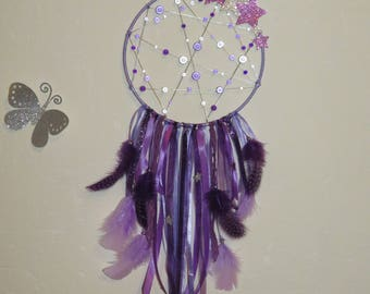 Catch dreams, lilac, mauve, purple, with stars, glitter, magic Pearl, feathers, stars, dreamcatcher.