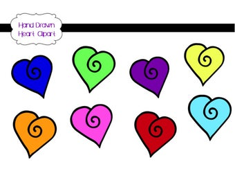 Hand-Drawn Doodle Heart with Swirl Vector Clipart