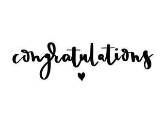 Digitally hand lettered card - Congratulations