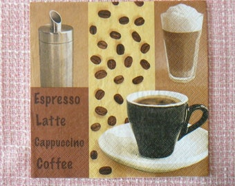 Decopatch / decoupage / Scrapbooking - coffee towel, cappuccino. picture 1 x 4