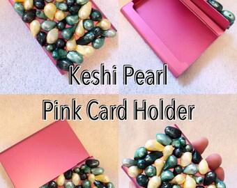 Keshi Pearl Pink Encrusted Card Holder