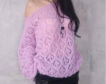 Angora Knit Sweater, Angora Sweater, Knit Sweater, Mohair Sweater Women, Mohair Sweater, Sweater Women, Lace Hand Knit Sweater,Lilac Sweater