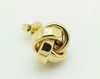 14k Yellow Gold High Polish Ribbon Love Knot Stud Earrings 9mm