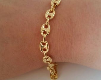 "14k Yellow Gold Puffed Mariner Anchor Bracelet Chain 7"" 6.9mm/gift/birthday/Dad/Mom/girlfriend/best selling/sale"