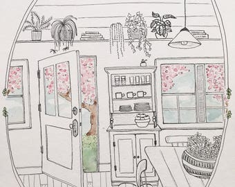 A view from the kitchen / Illustration / Watercolour / Art / Print