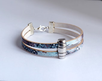 Women leather patterned blue and silver metal Bead Bracelet
