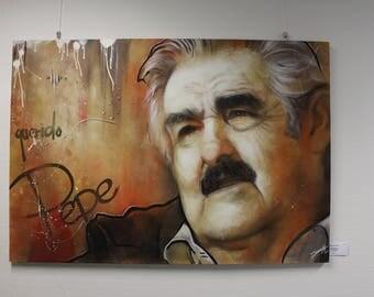 Pepe Mujica, graffiti street art portrait