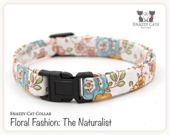 Snazzy Cat Collar: The Naturalist - Floral Fashion Collection - Vintage Flowers Car Collar - Handmade Breakaway Collar for Cats + Kittens